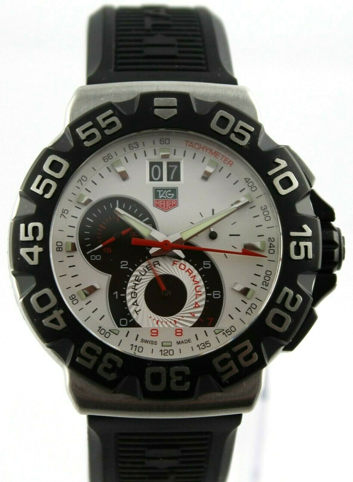 TAG HEUER FORMULA 1 CAH1011.BT0717 GRANDE DATE QUARTZ BLACK RUBBER MENS WATCH