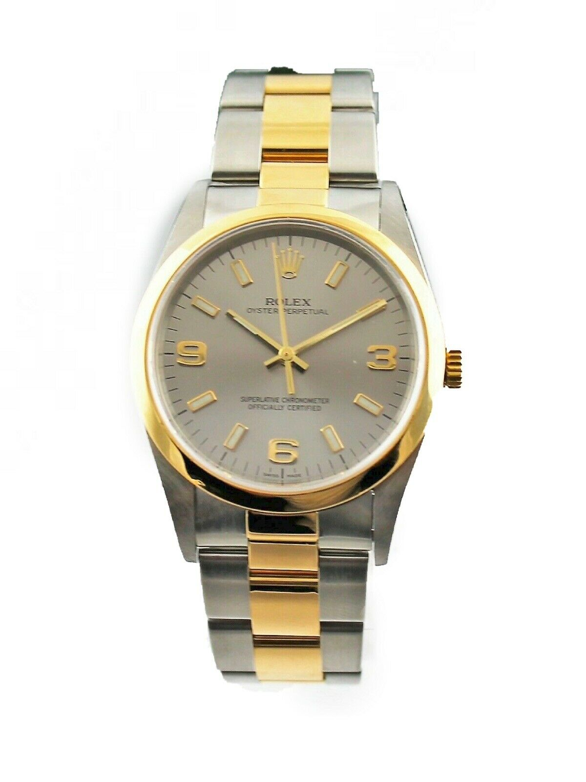 Rolex Oyster Perpetual 18k Yellow Gold & Steel 14203 Arabic Dial Watch