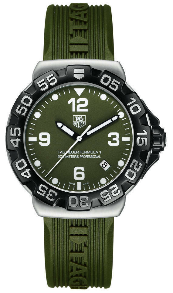 TAG HEUER FORMULA 1 KHAKI WAH1113.FT6025 SWISS QUARTZ RUBBER F1 MENS DIVER WATCH