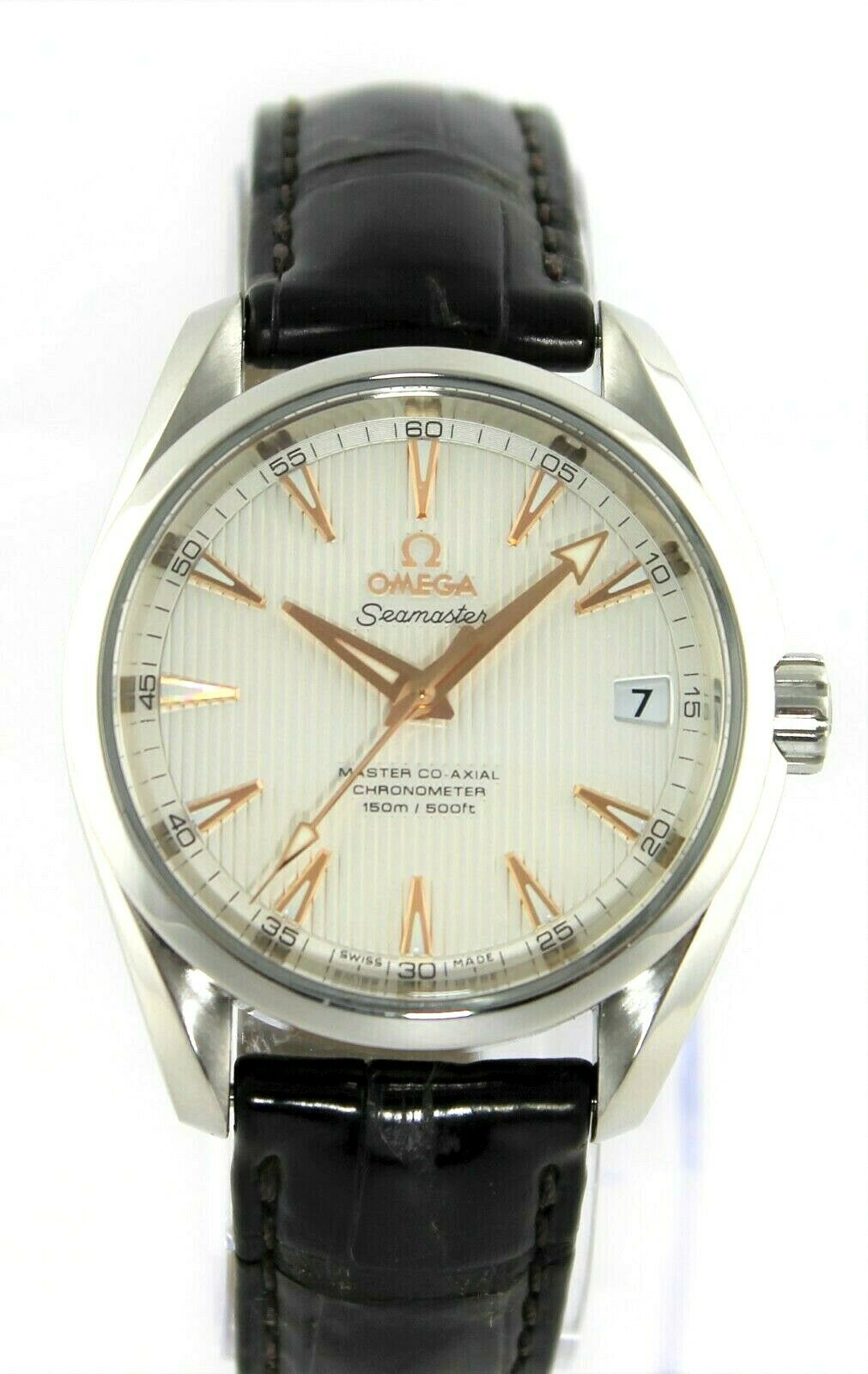OMEGA SEAMASTER AQUA TERRA 231.13.39.21.02.002 AUTOMATIC CO-AXIAL LEATHER WATCH