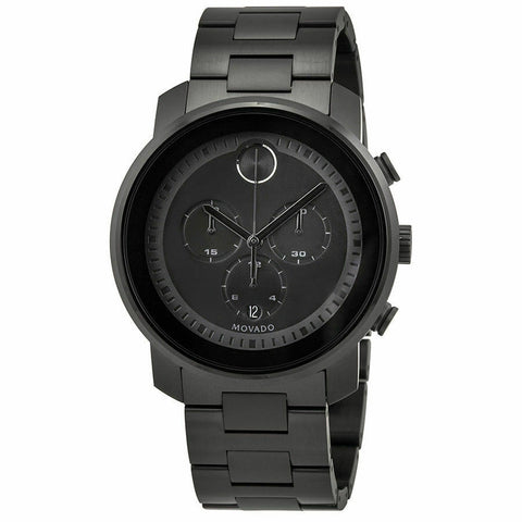 BRAND NEW MOVADO MEN'S BOLD METALS 3600472 SWISS QUARTZ CHRONOGRAPH BLACK WATCH