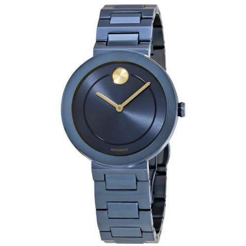 BRAND NEW MOVADO BOLD 3600499 BLUE IP SWISS QUARTZ STEEL LADIES 34MM WATCH WATCH