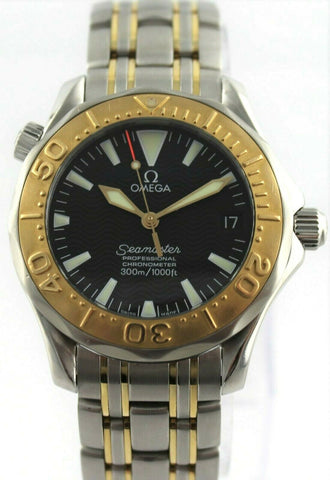 OMEGA SEAMASTER 2453.50 18K GOLD BEZEL AUTOMATIC MIDSIZE BLACK MENS WATCH PAPERS