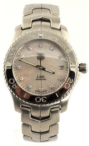 TAG HEUER MENS LINK  WJ1114.BA0570 MOTHER OF PEARL DIAMOND STEEL LUXURY WATCH