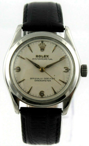 Rolex Oyster Perpetual 6106 Semi Bubble Back Stainless Steel Vintage 1951 Watch