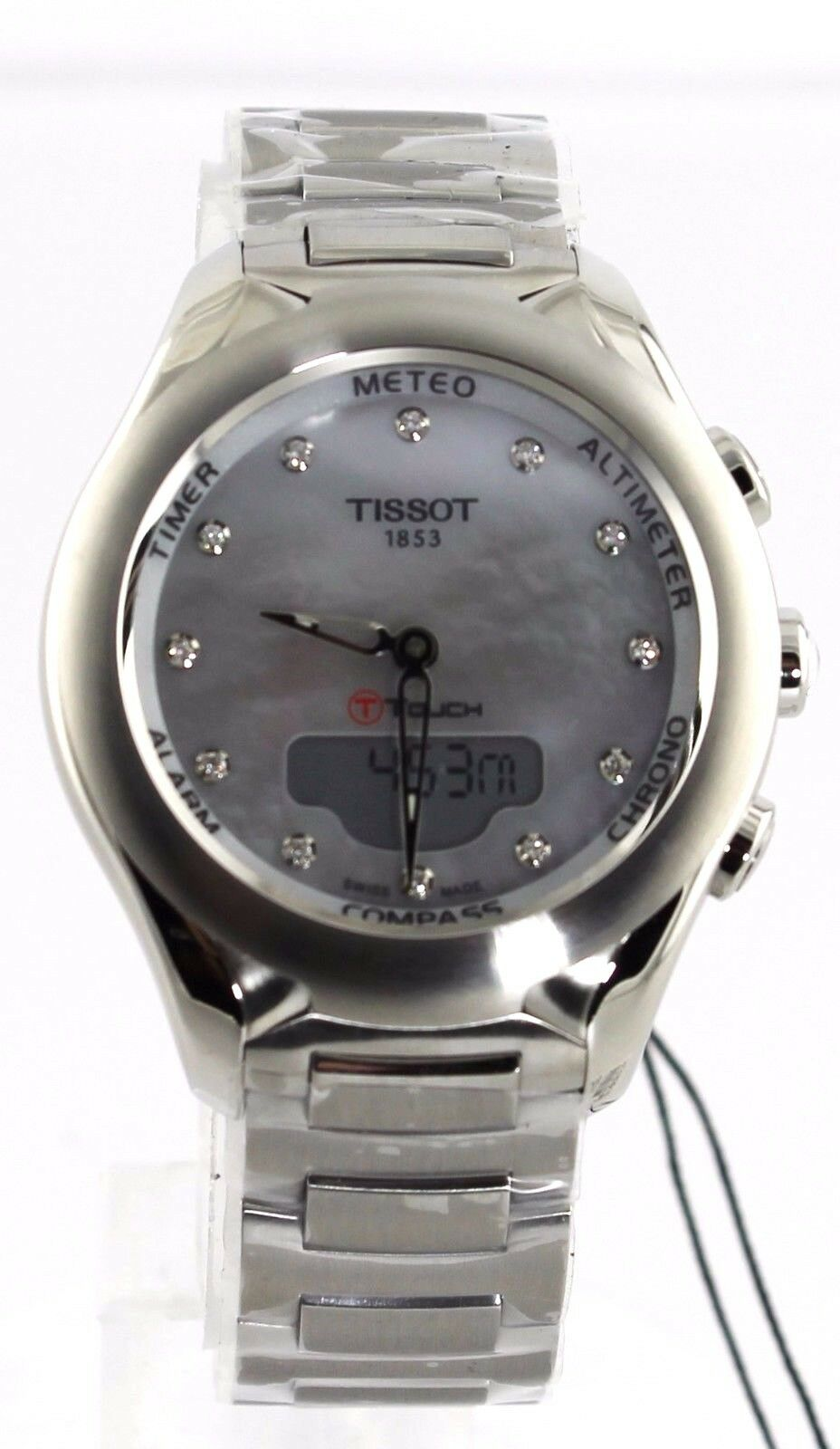 BRAND NEW TISSOT T-TOUCH T075.220.11.106.00 DIGITAL PEARL DIAMOND LADIES WATCH