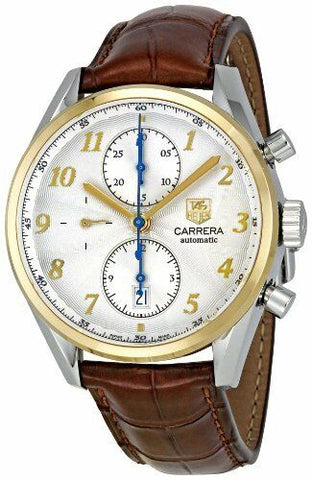 NEW TAG HEUER CARRERA CAS2150.FC6291 CHRONOGRAPH 18K GOLD BROWN LEATHER WATCH