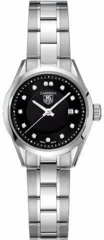 TAG HEUER LADIES CARRERA WV1410.BA0793 DIAMOND QUARTZ BLACK SWISS DATE WATCH