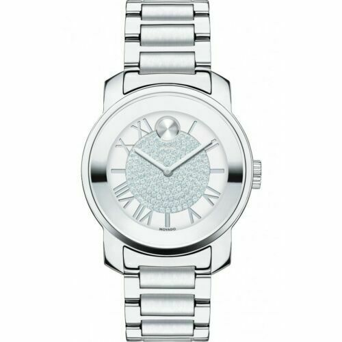 BRAND NEW MOVADO BOLD LUXE 3600254 SILVER ROMAN DIAL SWISS QUARTZ LADIES WATCH