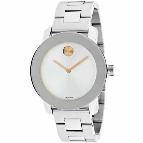 NEW MOVADO BOLD 3600084 ROSE GOLD HANDS SWISS QUARTZ LADIES STEEL 36MM WATCH