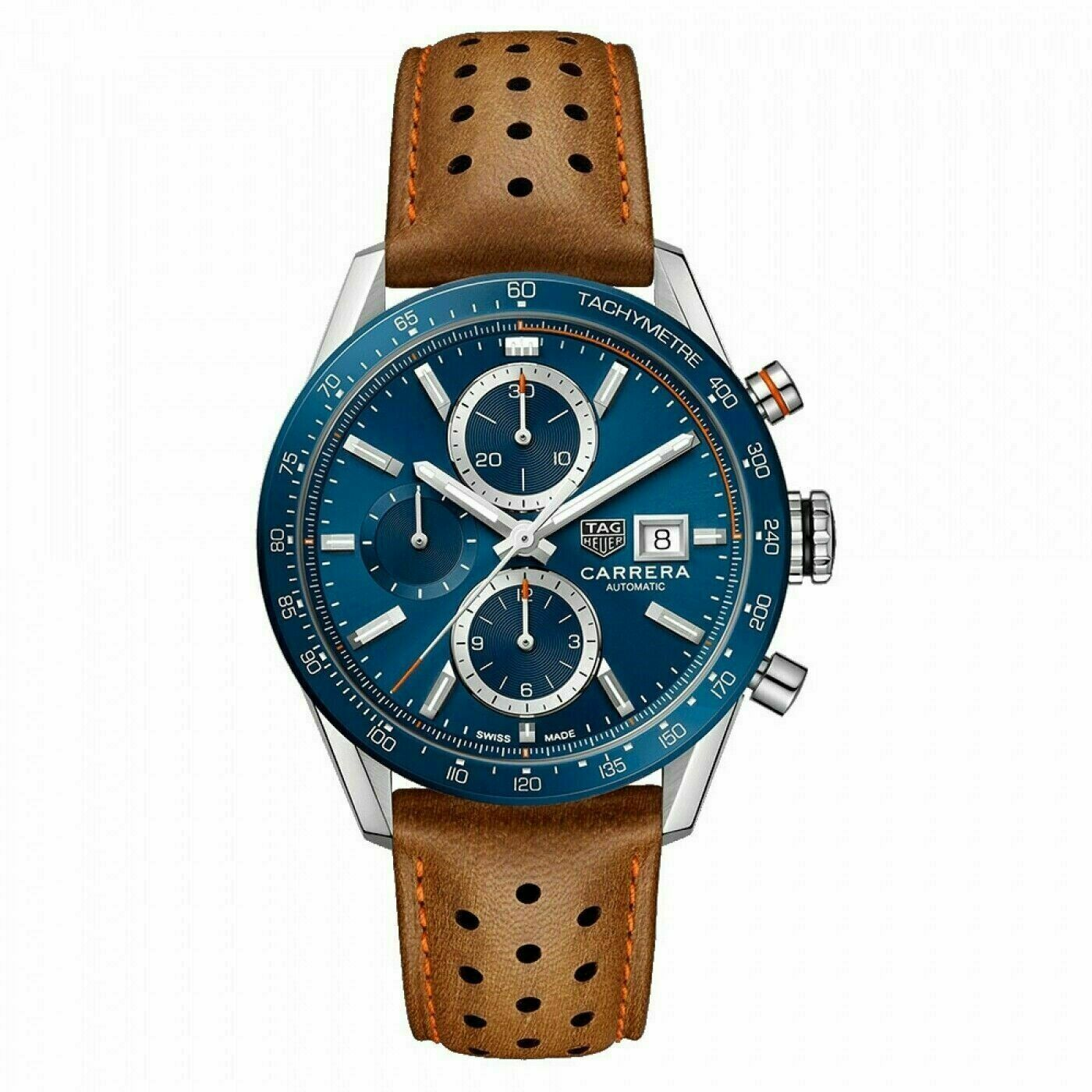 TAG HEUER CARRERA CBM2112.FC6455 AUTOMATIC CHORNOGRAPH CERAMIC LEATHER MEN WATCH