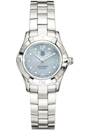 TAG HEUER WAF1419.BA0824 LADIES AQUARACER DIAMOND BLUE PEARL WATCH GIFT IDEA