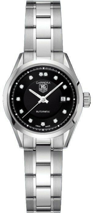 TAG HEUER LADIES CARRERA WV2410.BA0793 AUTOMATIC DIAMOND BLACK SWISS STEEL WATCH
