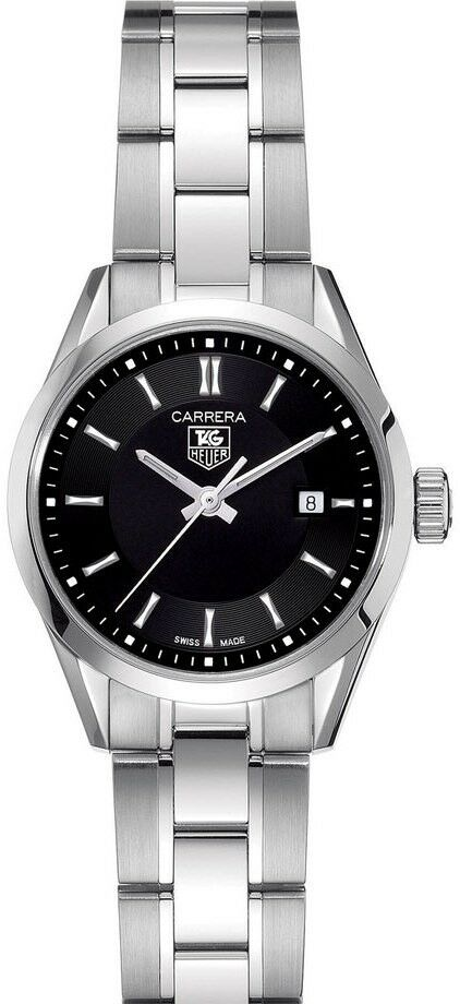 TAG HEUER LADIES CARRERA WV1414.BA0793 SWISS QUARTZ BLACK STEEL DATE WATCH