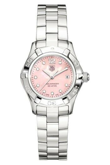 BEAUTIFUL TAG HEUER LADIES AQUARACER WAF141A.BA0813 DIAMOND PINK PEARL WATCH B&P