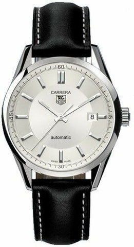 LUXURY TAG HEUER CARRERA WV211A.FC6202 AUTOMATIC BLACK LEATHER MENS SWISS WATCH