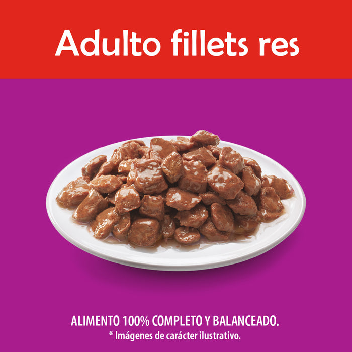 Whiskas Alimento Húmedo. Adulto. Res en Filetes. 8 Sobres®