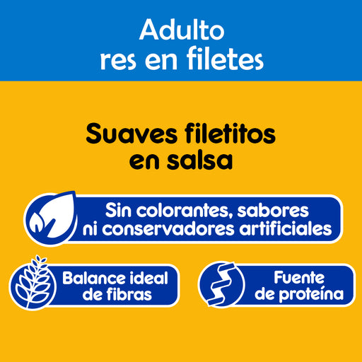 Pedigree Alimento Húmedo. Adulto. Res en Filetes. 10 Sobres®