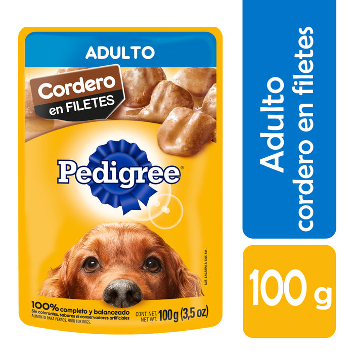 Pedigree Alimento Húmedo. Adulto. Cordero en Filetes. 10 Sobres®