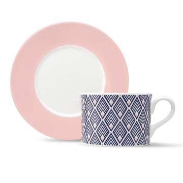 Gatsby Cup & Saucer in Blue & Blush Pink [Blush Saucer]