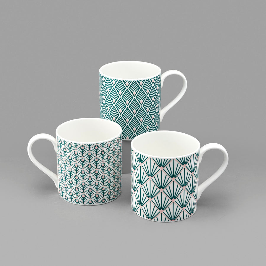 Gatsby Mug in Teal & Blush Pink
