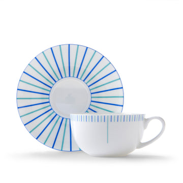 Burst Cup & Saucer in Blue & Turquoise