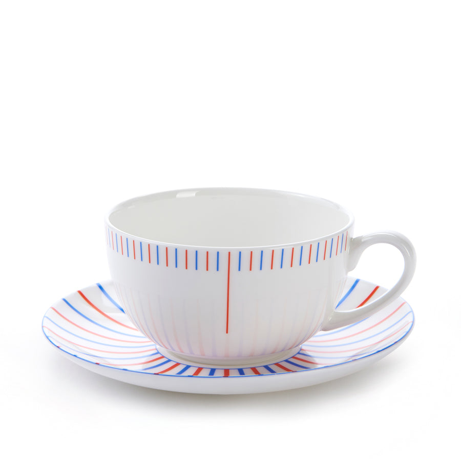 Burst Cup & Saucer in Red & Blue