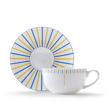 Burst Cup & Saucer in Yellow & Blue