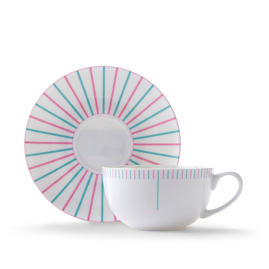 Burst Cup & Saucer in Pink & Turquoise