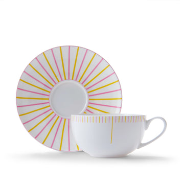 Burst Cup & Saucer in Pink & Yellow