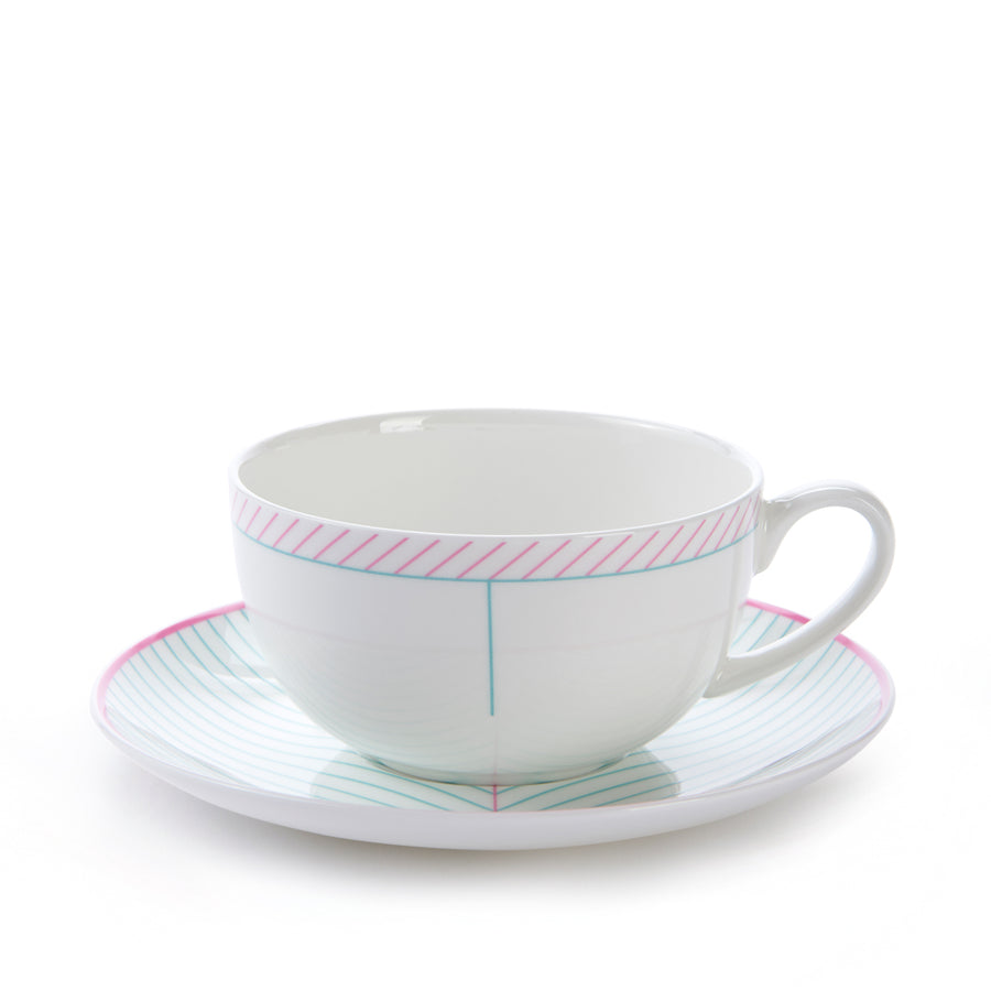 Ebb Cup & Saucer in Pink & Turquoise