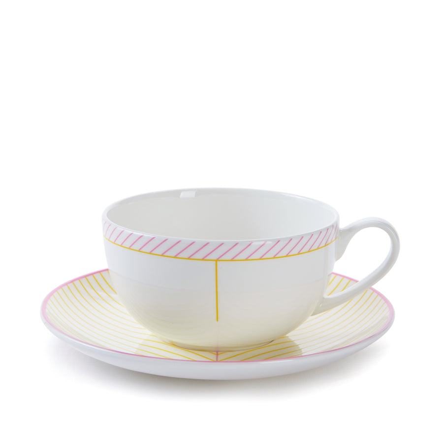 Ebb Cup & Saucer in Pink & Yellow