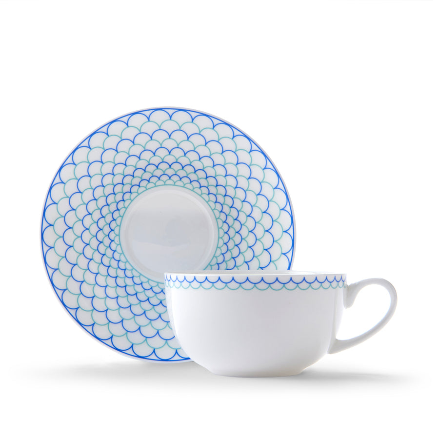 Ripple Cup & Saucer in Blue & Turquoise