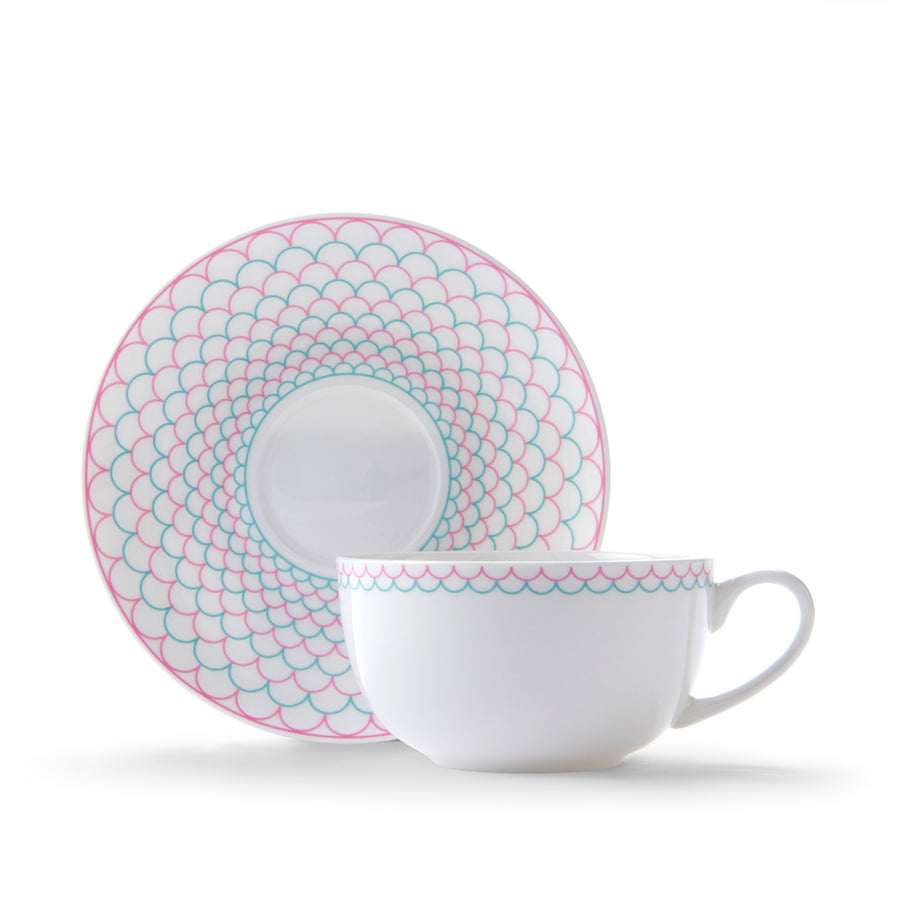 Ripple Cup & Saucer in Pink & Turquoise
