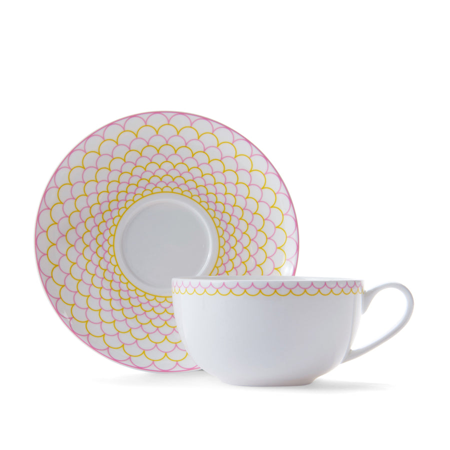 Ripple Cup & Saucer in Pink & Yellow
