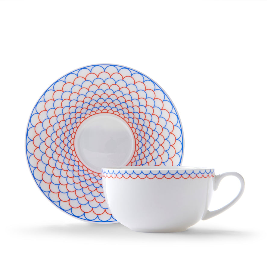 Ripple Cup & Saucer in Orange & Blue