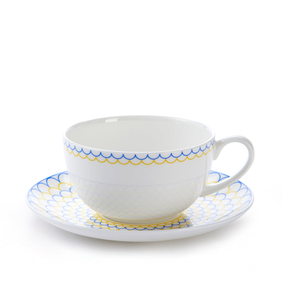 Ripple Cup & Saucer in Yellow & Blue