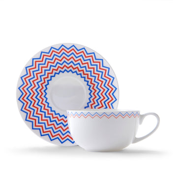 Wave Cup & Saucer in Orange & Blue