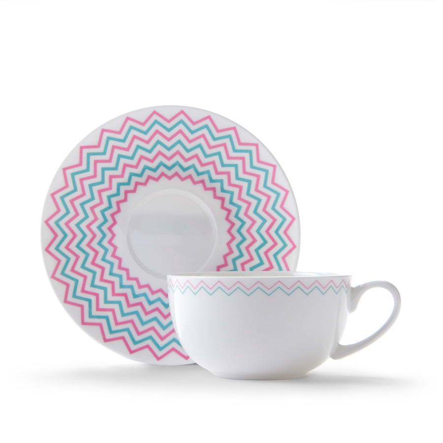 Wave Cup & Saucer in Pink & Turquoise