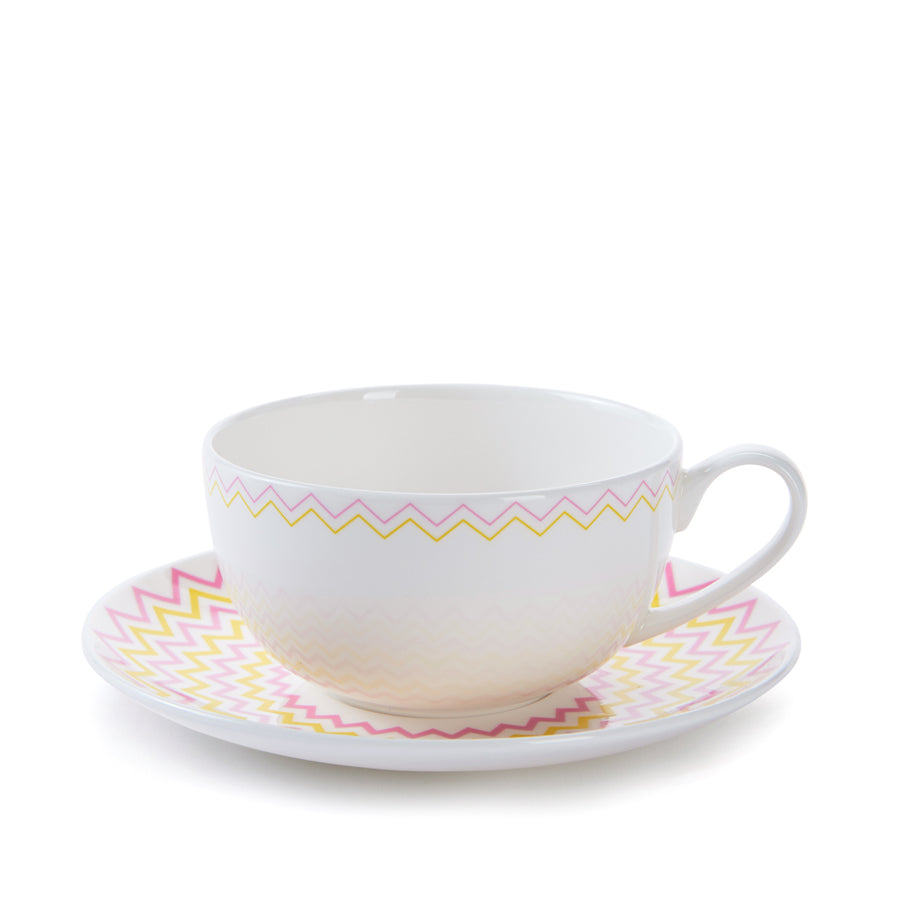 Wave Cup & Saucer in Pink & Yellow