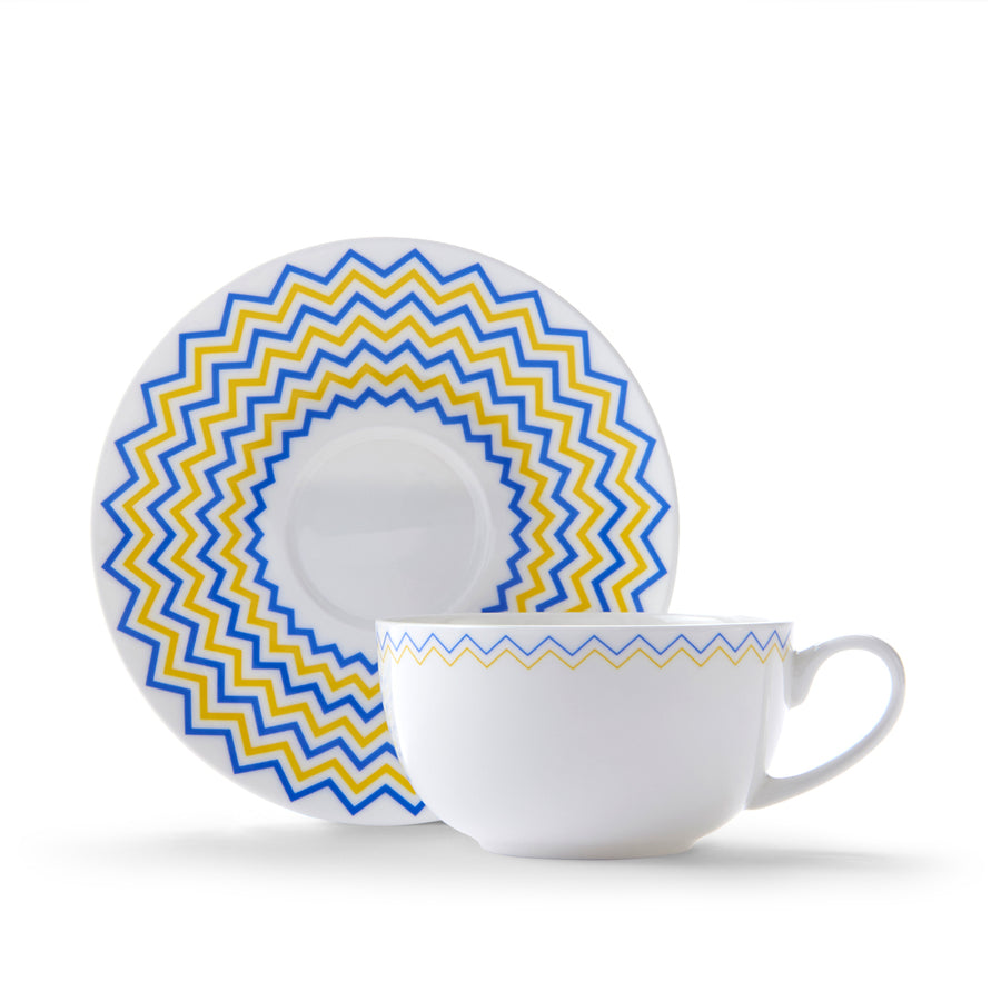Wave Cup & Saucer in Yellow & Blue