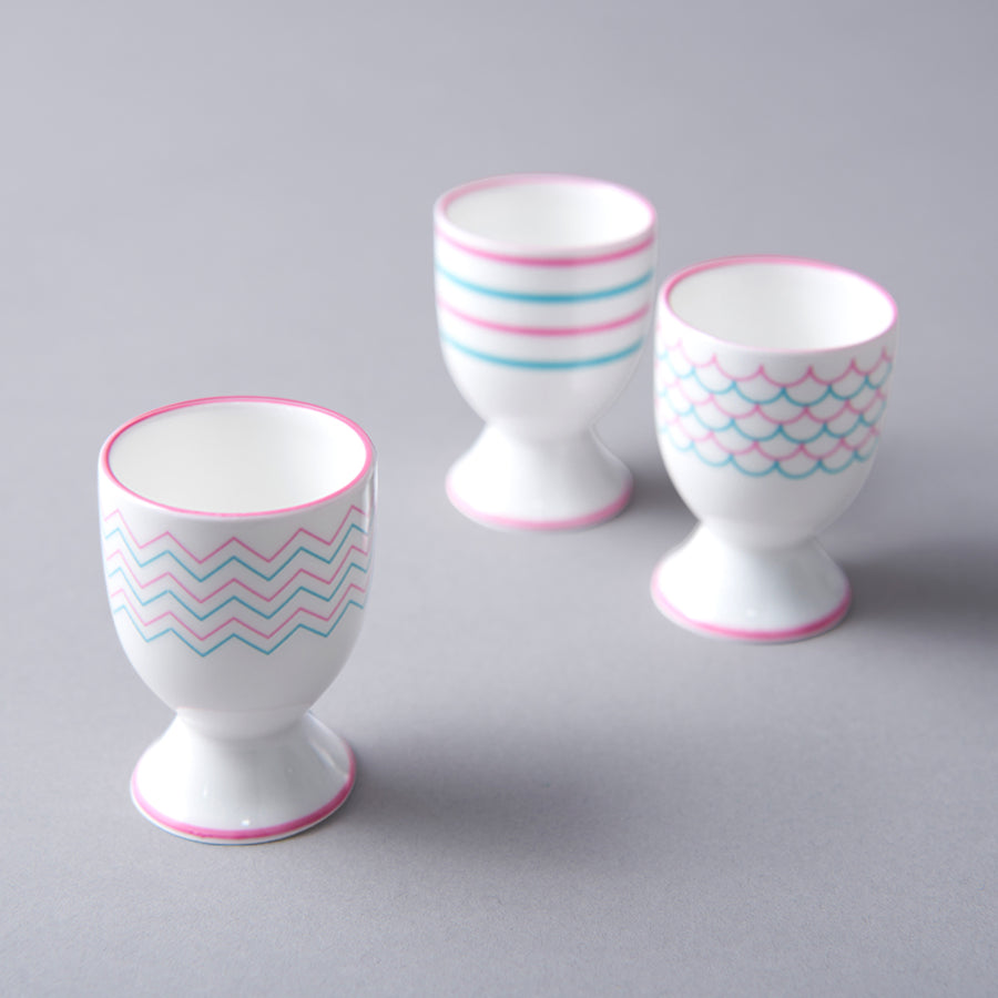 Ripple Egg Cup in Pink & Turquoise