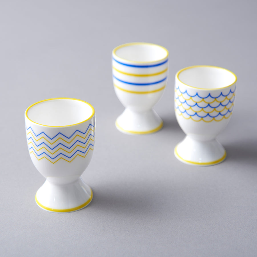 Ripple Egg Cup in Yellow & Blue