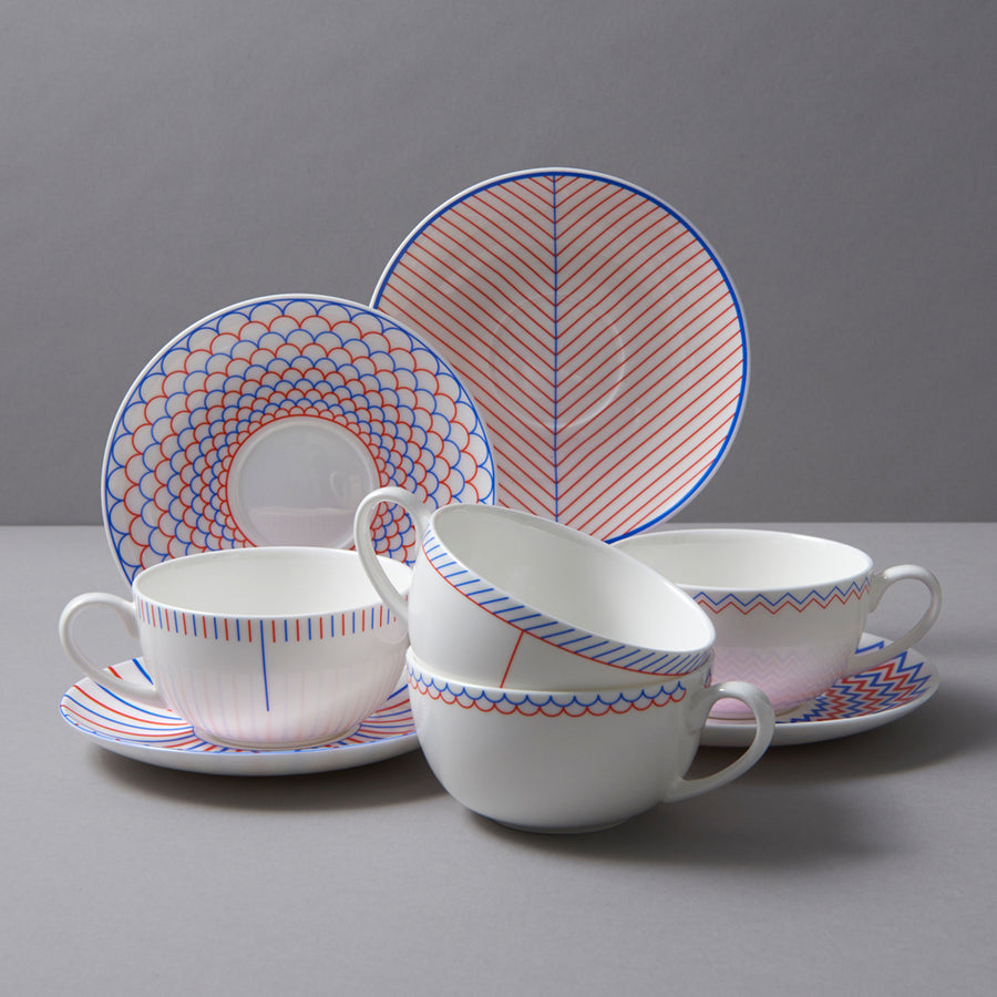 Burst Cup & Saucer in Orange & Blue
