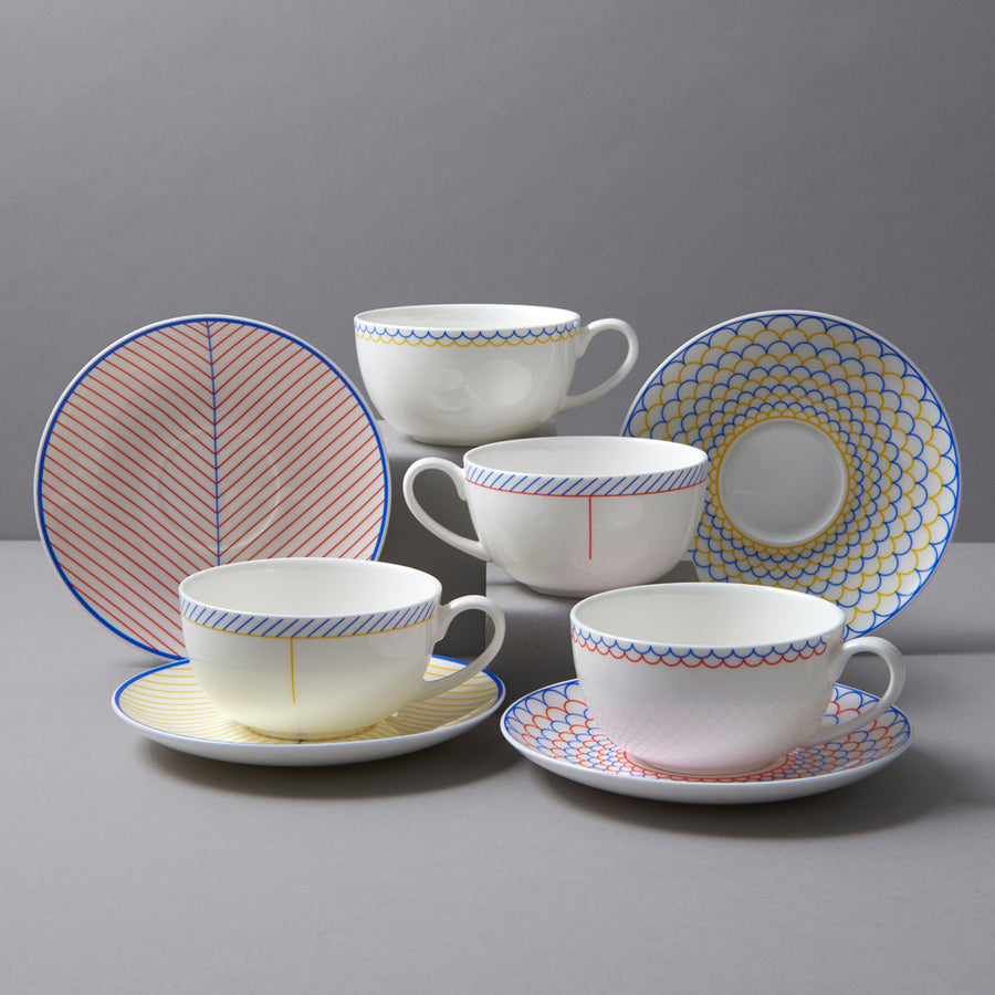 Ebb Cup & Saucer in Yellow & Blue