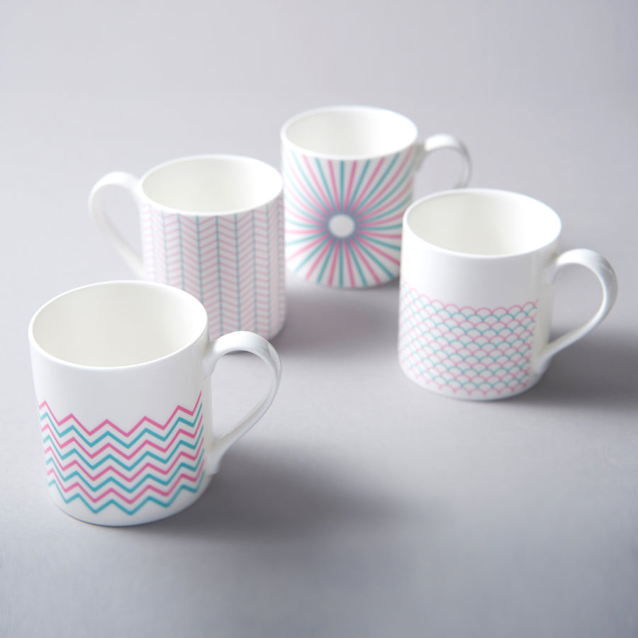 Wave Mug in Pink & Turquoise