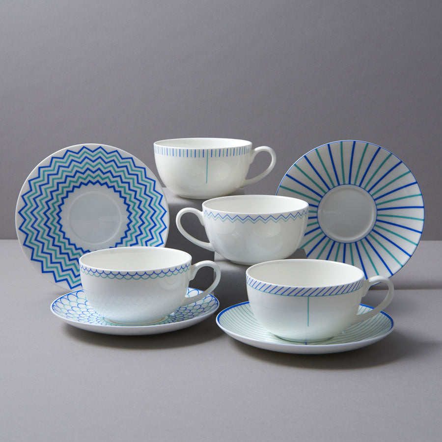 Wave Cup & Saucer in Blue & Turquoise