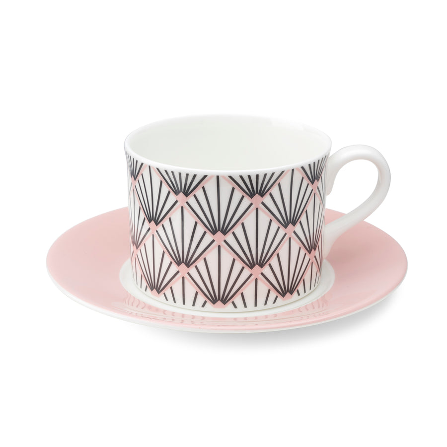 Zighy Cup & Saucer in Grey & Blush Pink [Blush Saucer]