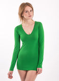 Jade Green V Neck long sleeve longsleeve V-neck 70% bamboo and 30% organic cotton yoga jade bright green