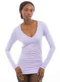 100% Bamboo Women's Long Sleeve V-Neck